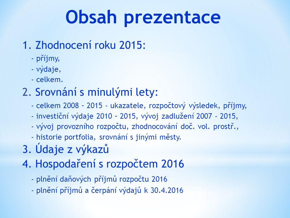 Obsah prezentace 1. Zhodnocení roku 2015: - příjmy, - výdaje, - celkem. 2. Srovnání s minulými lety: - celkem 2008 – 2015 - ukazatele, rozpočtový výsl
