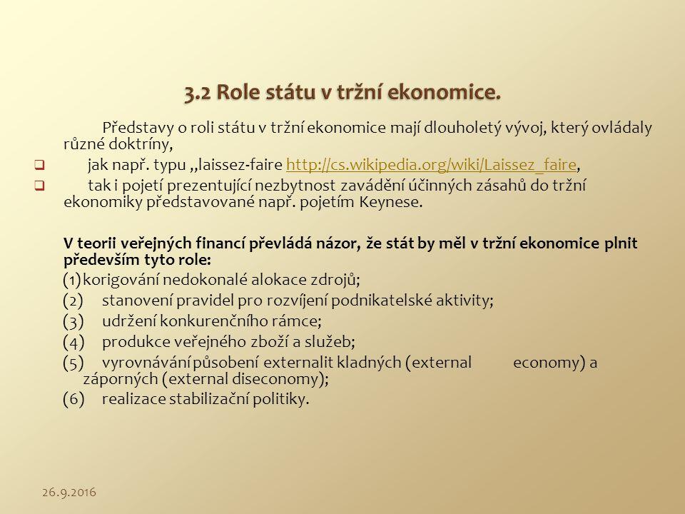 """Představy o roli státu v tržní ekonomice mají dlouholetý vývoj, který ovládaly různé doktríny,  jak např. typu """"laissez-faire http://cs.wikipedia.org"""