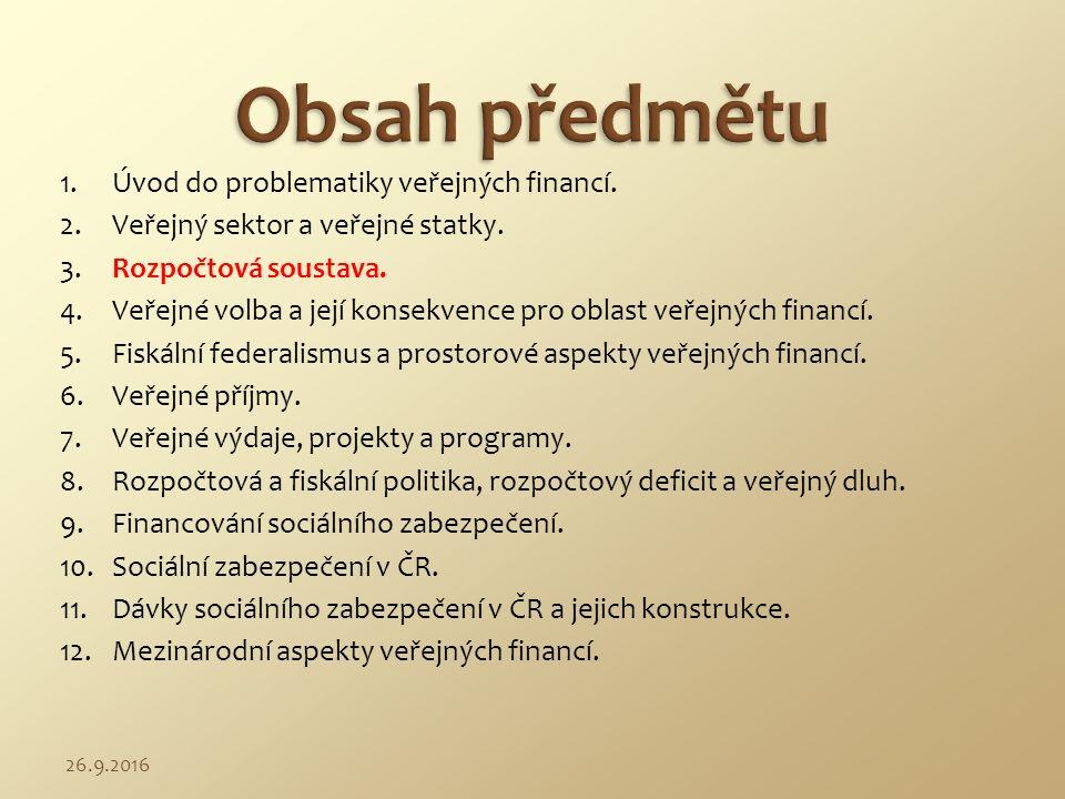 3.1 Veřejné rozpočty v ČR.3.2 Role státu v tržní ekonomice.