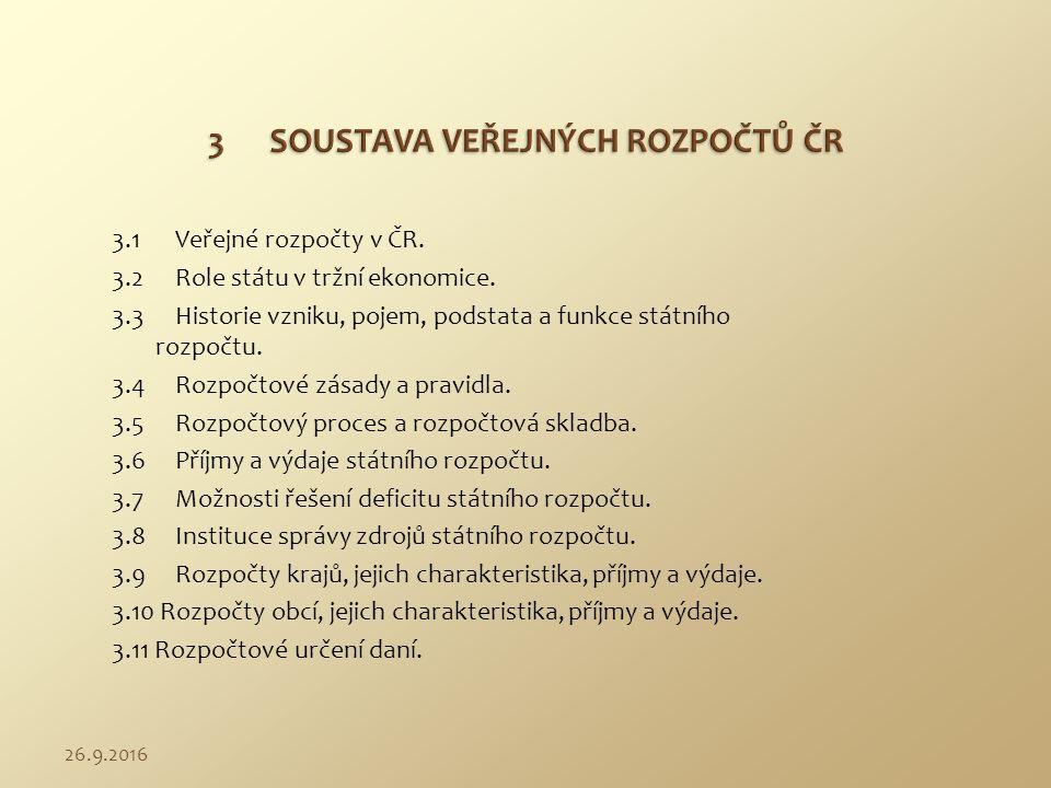 3.1 Veřejné rozpočty v ČR. 3.2 Role státu v tržní ekonomice. 3.3 Historie vzniku, pojem, podstata a funkce státního rozpočtu. 3.4 Rozpočtové zásady a