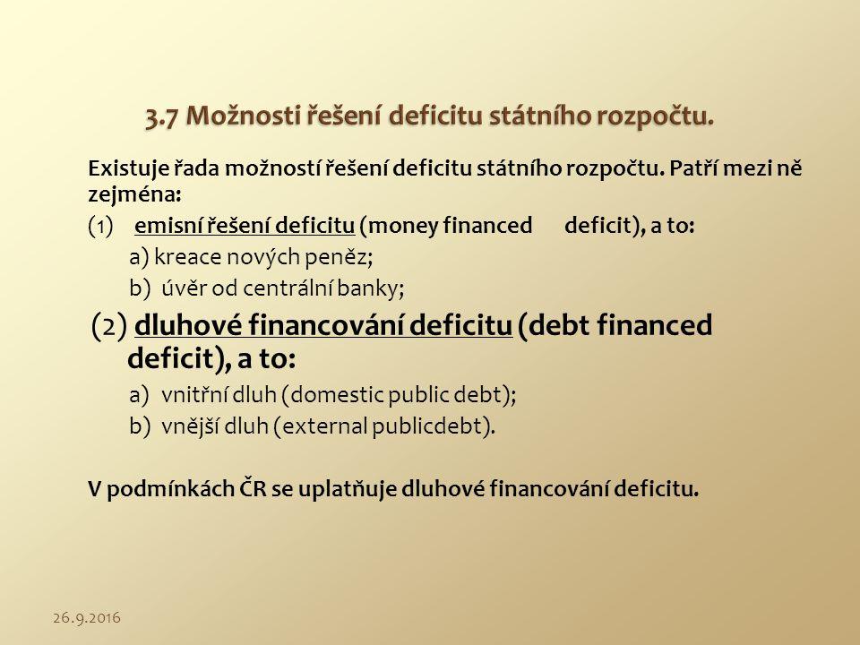 Existuje řada možností řešení deficitu státního rozpočtu. Patří mezi ně zejména: (1)emisní řešení deficitu (money financed deficit), a to: a) kreace n