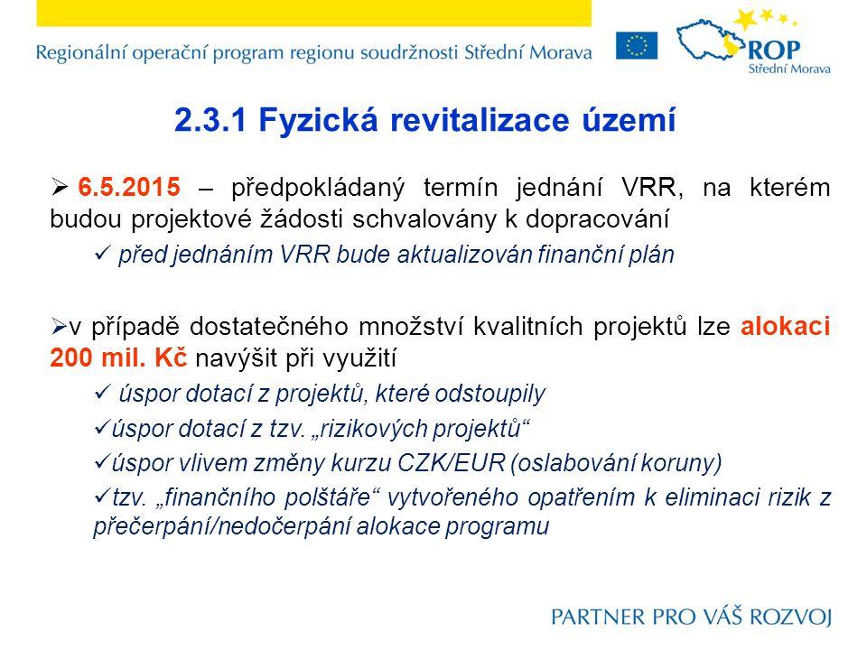 2.3.1 Fyzická revitalizace území  6.5.2015 – předpokládaný termín jednání VRR, na kterém budou projektové žádosti schvalovány k dopracování před jednáním VRR bude aktualizován finanční plán  v případě dostatečného množství kvalitních projektů lze alokaci 200 mil.