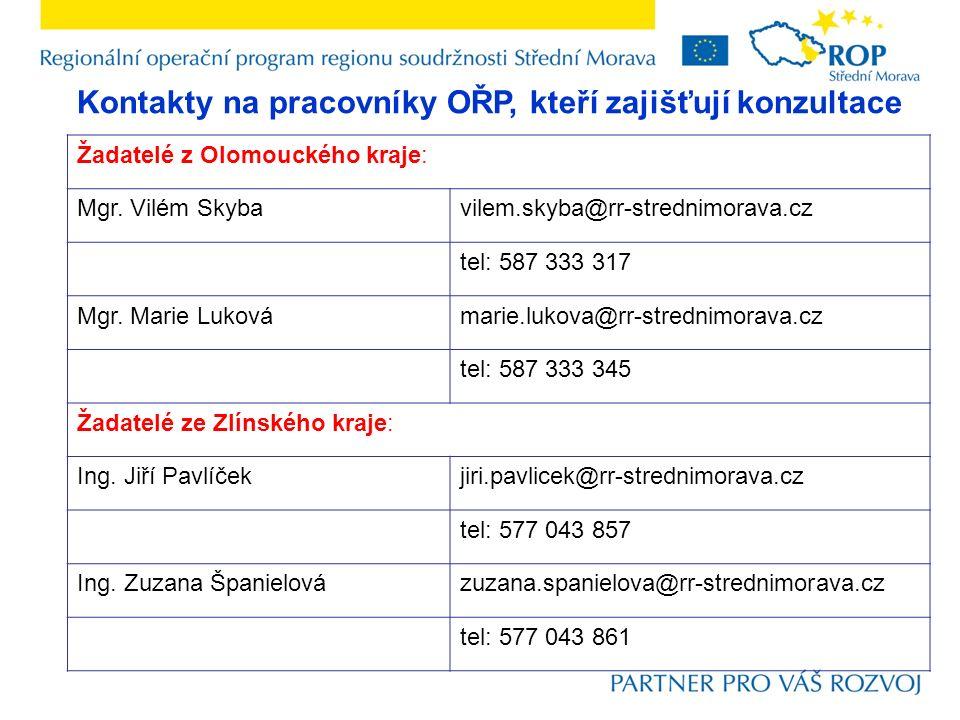 Kontakty na pracovníky OŘP, kteří zajišťují konzultace Žadatelé z Olomouckého kraje: Mgr.