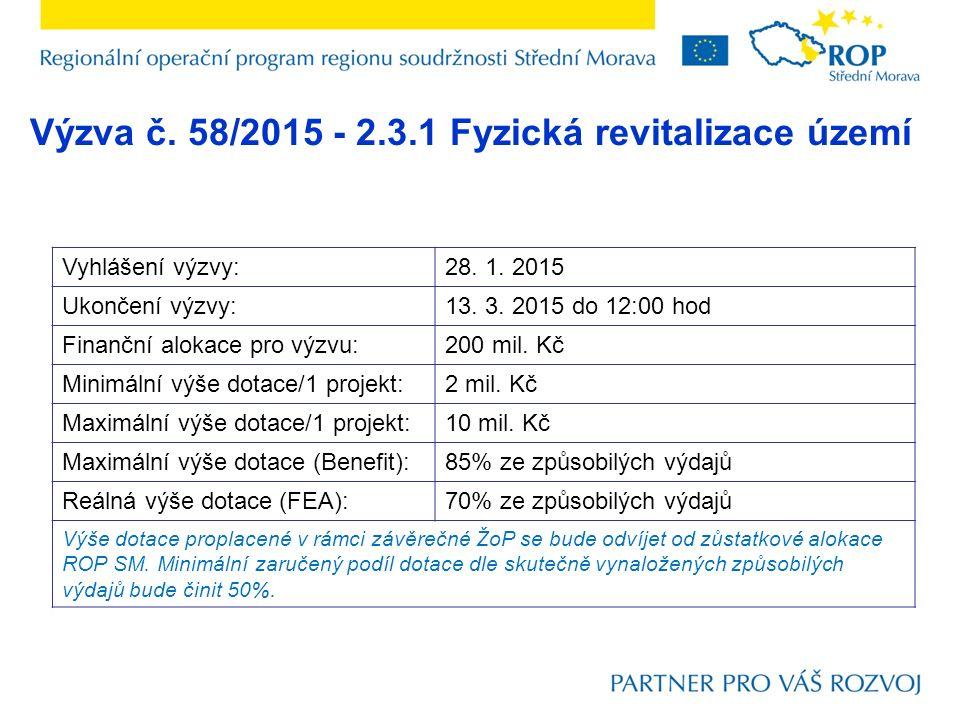 Výzva č. 58/2015 - 2.3.1 Fyzická revitalizace území Vyhlášení výzvy:28.