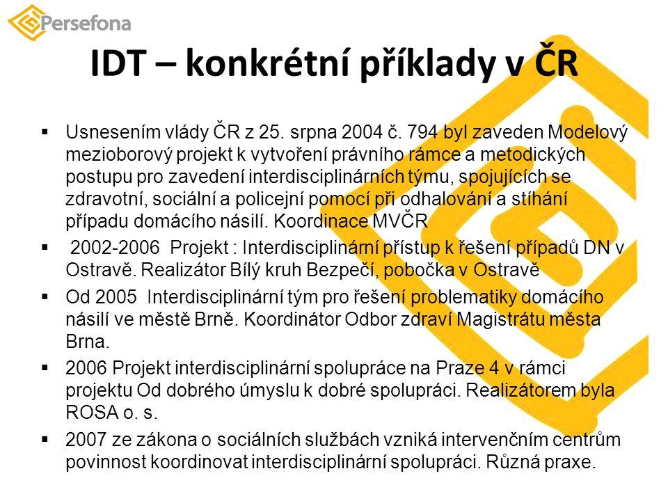 IDT – konkrétní příklady v ČR  Usnesením vlády ČR z 25.