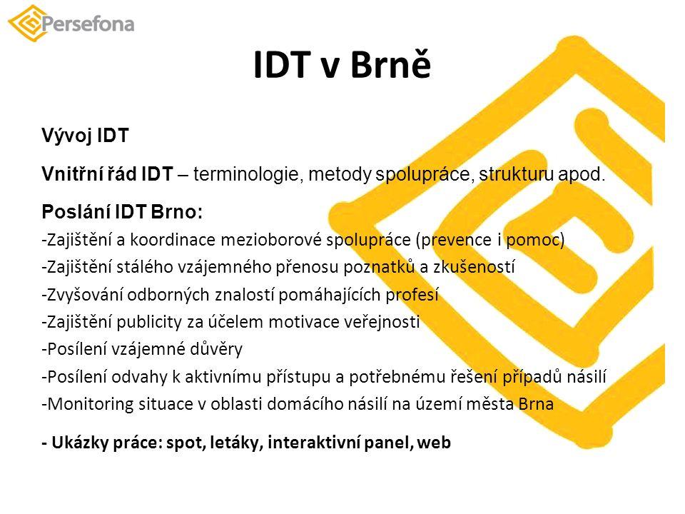 IDT v Brně Vývoj IDT Vnitřní řád IDT – terminologie, metody spolupráce, strukturu apod.
