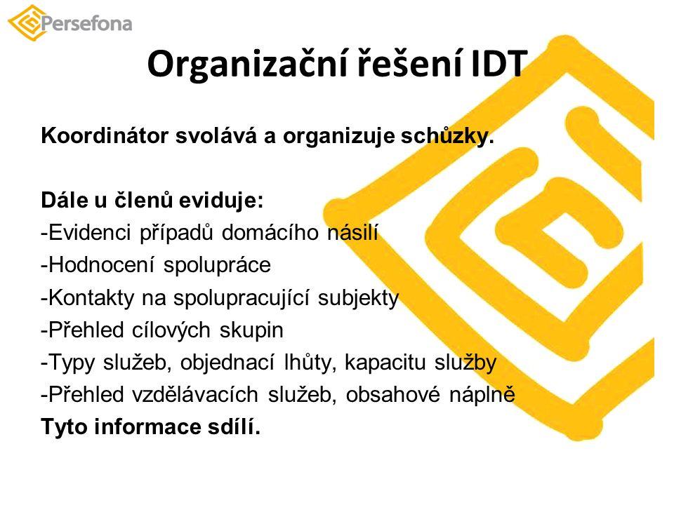 Organizační řešení IDT Koordinátor svolává a organizuje schůzky.