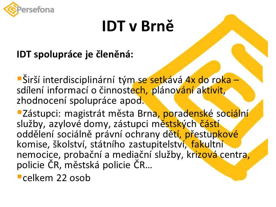 IDT v Brně IDT spolupráce je členěná:  Širší interdisciplinární tým se setkává 4x do roka – sdílení informací o činnostech, plánování aktivit, zhodnocení spolupráce apod.