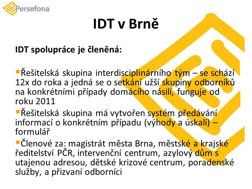 IDT v Brně IDT spolupráce je členěná:  Řešitelská skupina interdisciplinárního tým – se schází 12x do roka a jedná se o setkání užší skupiny odborníků na konkrétními případy domácího násilí, funguje od roku 2011  Řešitelská skupina má vytvořen systém předávání informací o konkrétním případu (výhody a úskalí) – formulář  Členové za: magistrát města Brna, městské a krajské ředitelství PČR, intervenční centrum, azylový dům s utajenou adresou, dětské krizové centrum, poradenské služby, a přizvaní odborníci