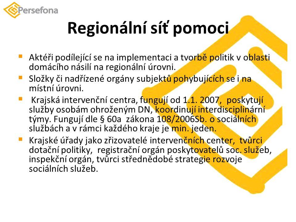 Regionální síť pomoci  Aktéři podílející se na implementaci a tvorbě politik v oblasti domácího násilí na regionální úrovni.