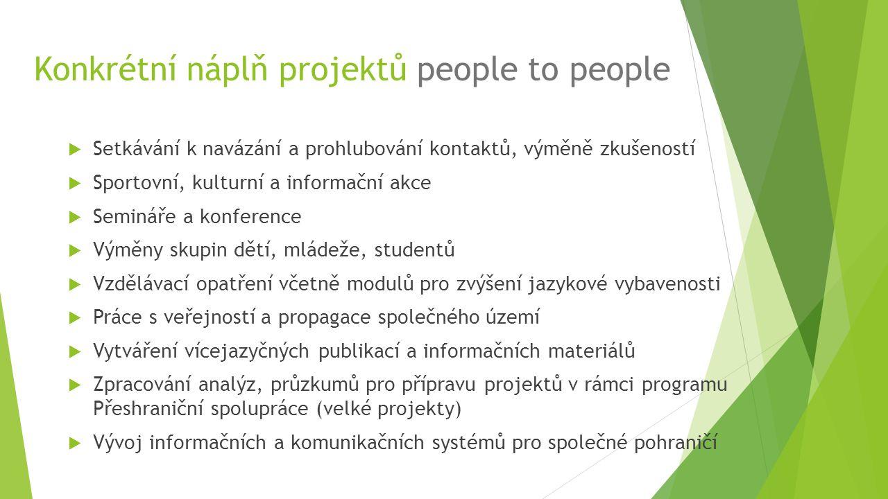 Konkrétní náplň projektů people to people  Setkávání k navázání a prohlubování kontaktů, výměně zkušeností  Sportovní, kulturní a informační akce 