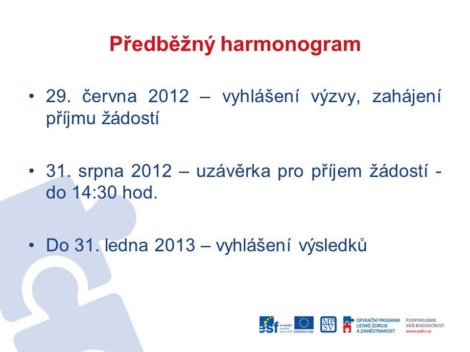 Předběžný harmonogram 29. června 2012 – vyhlášení výzvy, zahájení příjmu žádostí 31.