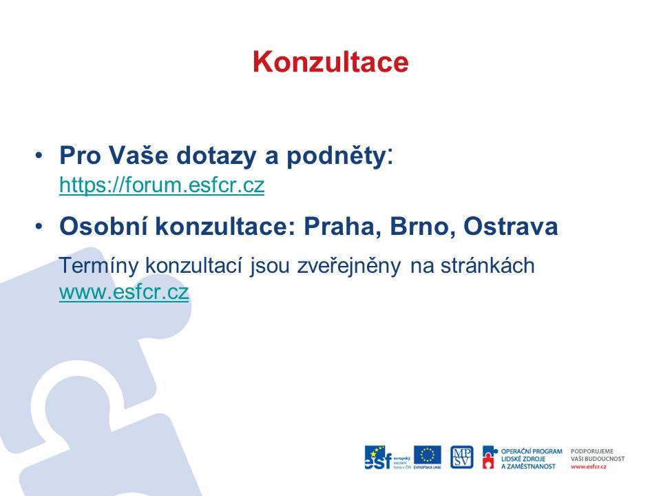 Konzultace Pro Vaše dotazy a podněty : https://forum.esfcr.cz https://forum.esfcr.cz Osobní konzultace: Praha, Brno, Ostrava Termíny konzultací jsou zveřejněny na stránkách www.esfcr.cz www.esfcr.cz
