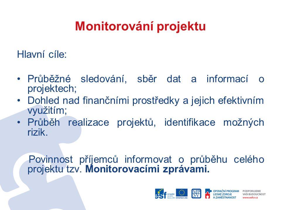 Monitorování projektu Hlavní cíle: Průběžné sledování, sběr dat a informací o projektech; Dohled nad finančními prostředky a jejich efektivním využitím; Průběh realizace projektů, identifikace možných rizik.