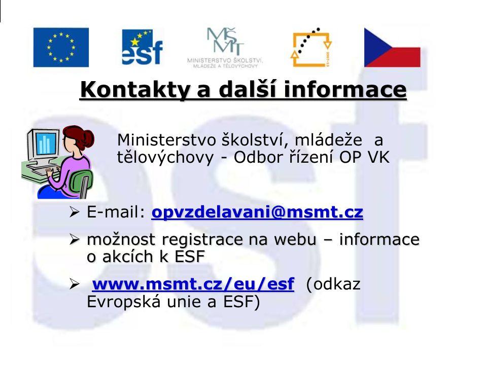 Kontakty a další informace Ministerstvo školství, mládeže a tělovýchovy - Odbor řízení OP VK opvzdelavani@msmt.cz opvzdelavani@msmt.cz  E-mail: opvzd