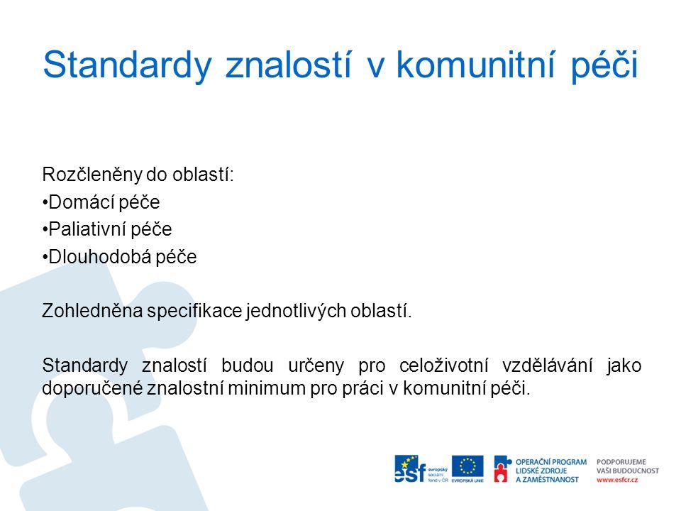 Standardy znalostí v komunitní péči Rozčleněny do oblastí: Domácí péče Paliativní péče Dlouhodobá péče Zohledněna specifikace jednotlivých oblastí.
