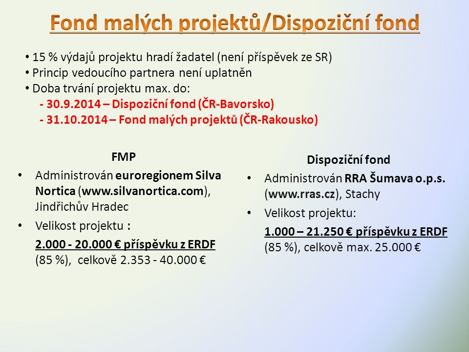FMP Administrován euroregionem Silva Nortica (www.silvanortica.com), Jindřichův Hradec Velikost projektu : 2.000 - 20.000 € příspěvku z ERDF (85 %), celkově 2.353 - 40.000 € Dispoziční fond Administrován RRA Šumava o.p.s.