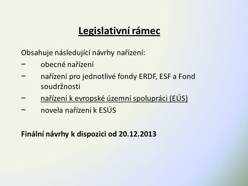 Legislativní rámec Obsahuje následující návrhy nařízení: − obecné nařízení − nařízení pro jednotlivé fondy ERDF, ESF a Fond soudržnosti − nařízení k evropské územní spolupráci (EÚS) − novela nařízení k ESÚS Finální návrhy k dispozici od 20.12.2013