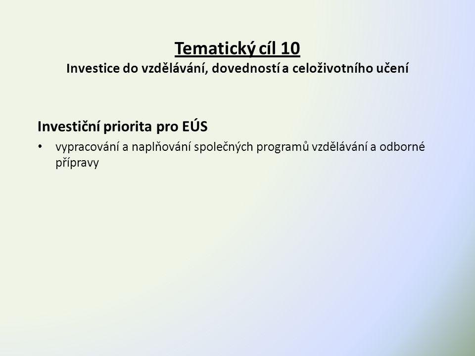 Tematický cíl 10 Investice do vzdělávání, dovedností a celoživotního učení Investiční priorita pro EÚS vypracování a naplňování společných programů vzdělávání a odborné přípravy