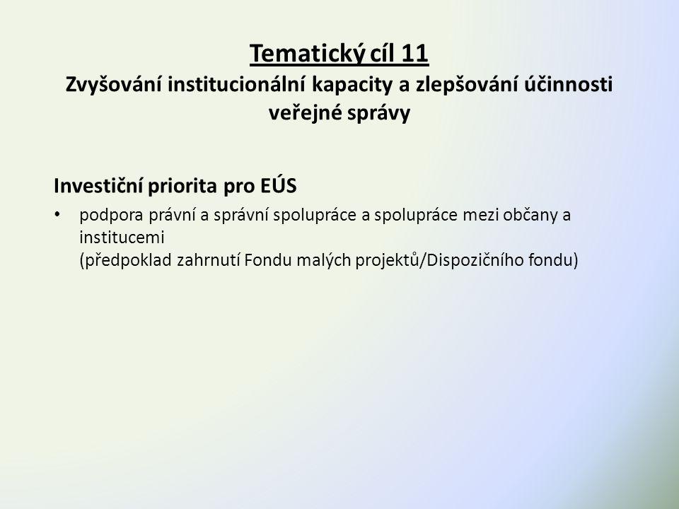 Tematický cíl 11 Zvyšování institucionální kapacity a zlepšování účinnosti veřejné správy Investiční priorita pro EÚS podpora právní a správní spolupráce a spolupráce mezi občany a institucemi (předpoklad zahrnutí Fondu malých projektů/Dispozičního fondu)