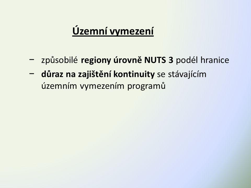 Územní vymezení − způsobilé regiony úrovně NUTS 3 podél hranice − důraz na zajištění kontinuity se stávajícím územním vymezením programů