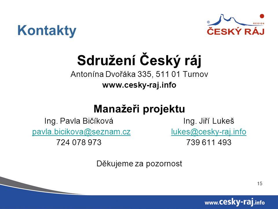 15 Kontakty Sdružení Český ráj Antonína Dvořáka 335, 511 01 Turnov www.cesky-raj.info Manažeři projektu Ing.