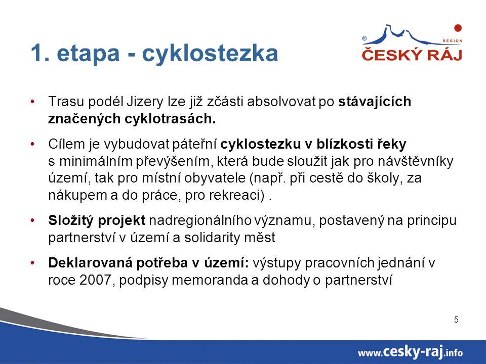 5 1. etapa - cyklostezka Trasu podél Jizery lze již zčásti absolvovat po stávajících značených cyklotrasách. Cílem je vybudovat páteřní cyklostezku v