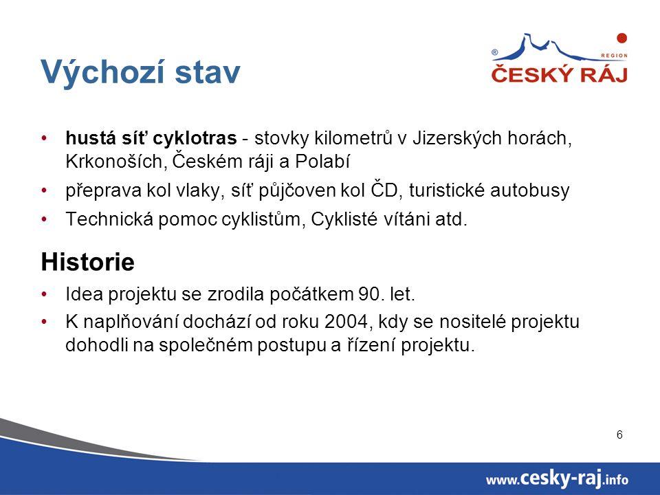 7 Řízení projektu Cyklotrasa Jizera je rozdělena na sedm úseků, z nichž každý má svého garanta, který koordinuje práce na projektu.