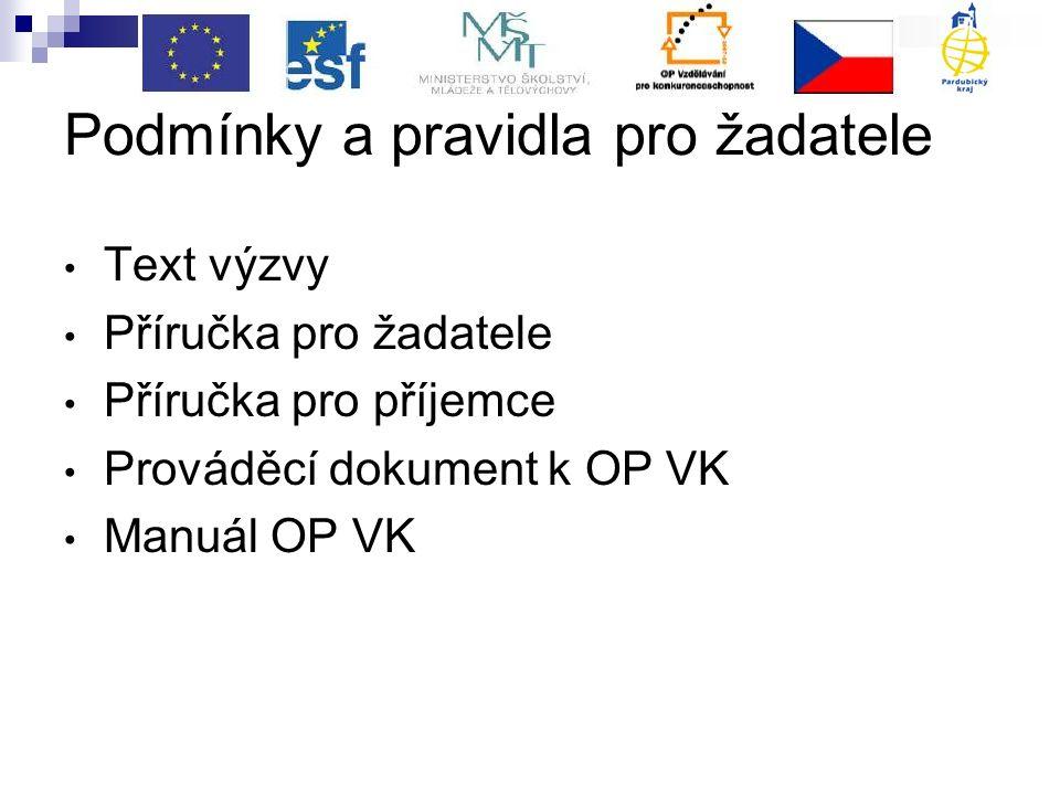 Podmínky a pravidla pro žadatele Text výzvy Příručka pro žadatele Příručka pro příjemce Prováděcí dokument k OP VK Manuál OP VK