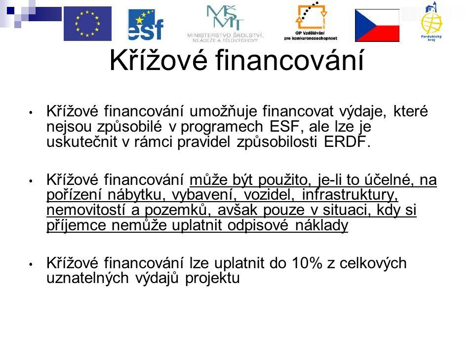 Křížové financování Křížové financování umožňuje financovat výdaje, které nejsou způsobilé v programech ESF, ale lze je uskutečnit v rámci pravidel způsobilosti ERDF.