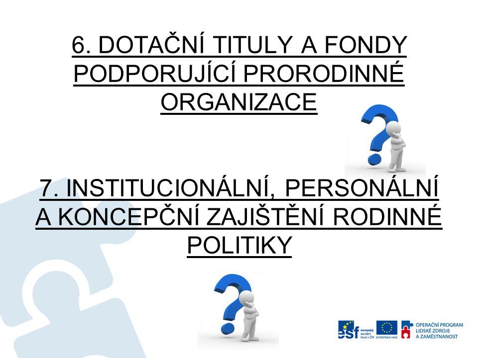 6. DOTAČNÍ TITULY A FONDY PODPORUJÍCÍ PRORODINNÉ ORGANIZACE 7.