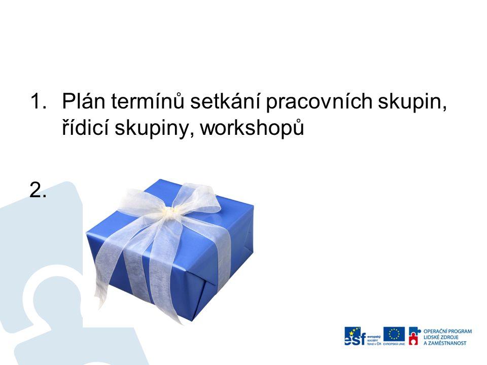 1.Plán termínů setkání pracovních skupin, řídicí skupiny, workshopů 2. dárek