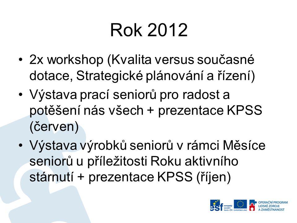 Rok 2012 2x workshop (Kvalita versus současné dotace, Strategické plánování a řízení) Výstava prací seniorů pro radost a potěšení nás všech + prezenta