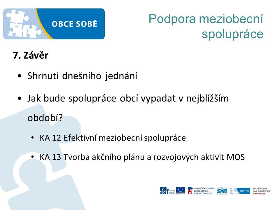 Podpora meziobecní spolupráce Shrnutí dnešního jednání Jak bude spolupráce obcí vypadat v nejbližším období.