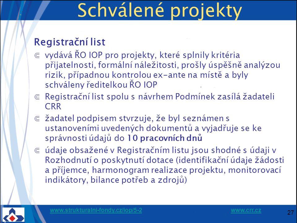 www.strukturalni-fondy.cz/iop/5-2www.strukturalni-fondy.cz/iop/5-2 www.crr.czwww.crr.cz 27 Schválené projekty Registrační list ⋐vydává ŘO IOP pro projekty, které splnily kritéria přijatelnosti, formální náležitosti, prošly úspěšně analýzou rizik, případnou kontrolou ex-ante na místě a byly schváleny ředitelkou ŘO IOP ⋐Registrační list spolu s návrhem Podmínek zasílá žadateli CRR ⋐žadatel podpisem stvrzuje, že byl seznámen s ustanoveními uvedených dokumentů a vyjadřuje se ke správnosti údajů do 10 pracovních dnů ⋐údaje obsažené v Registračním listu jsou shodné s údaji v Rozhodnutí o poskytnutí dotace (identifikační údaje žádosti a příjemce, harmonogram realizace projektu, monitorovací indikátory, bilance potřeb a zdrojů)