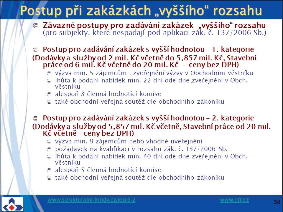 """www.strukturalni-fondy.cz/iop/5-2www.strukturalni-fondy.cz/iop/5-2 www.crr.czwww.crr.cz 38 Postup při zakázkách """"vyššího rozsahu ⋐Závazné postupy pro zadávání zakázek """"vyššího rozsahu (pro subjekty, které nespadají pod aplikaci zák."""