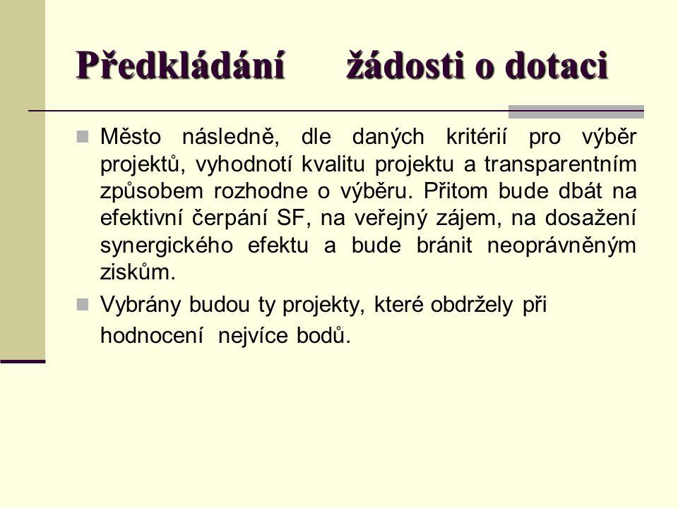 Předkládání žádosti o dotaci Město následně, dle daných kritérií pro výběr projektů, vyhodnotí kvalitu projektu a transparentním způsobem rozhodne o výběru.