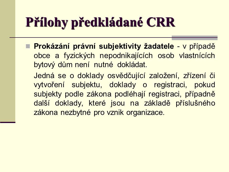 Přílohy předkládané CRR Prokázání právní subjektivity žadatele - v případě obce a fyzických nepodnikajících osob vlastnících bytový dům není nutné dokládat.