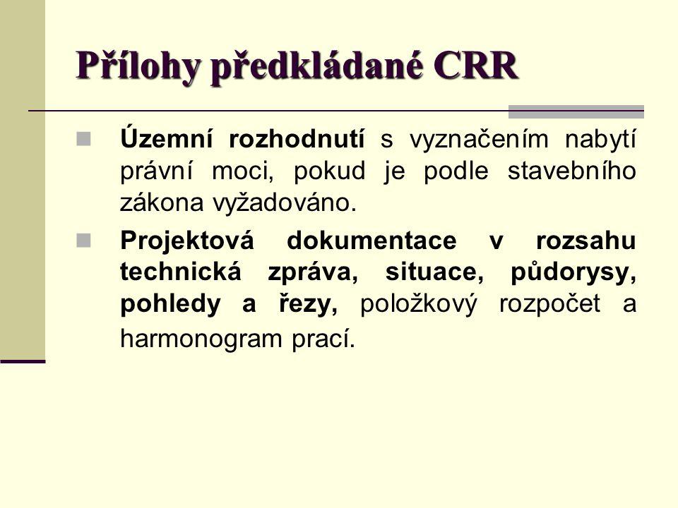 Přílohy předkládané CRR Územní rozhodnutí s vyznačením nabytí právní moci, pokud je podle stavebního zákona vyžadováno.