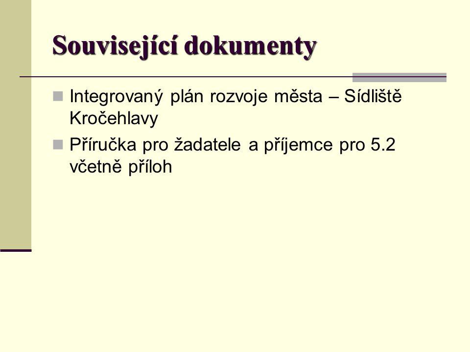 Související dokumenty Integrovaný plán rozvoje města – Sídliště Kročehlavy Příručka pro žadatele a příjemce pro 5.2 včetně příloh