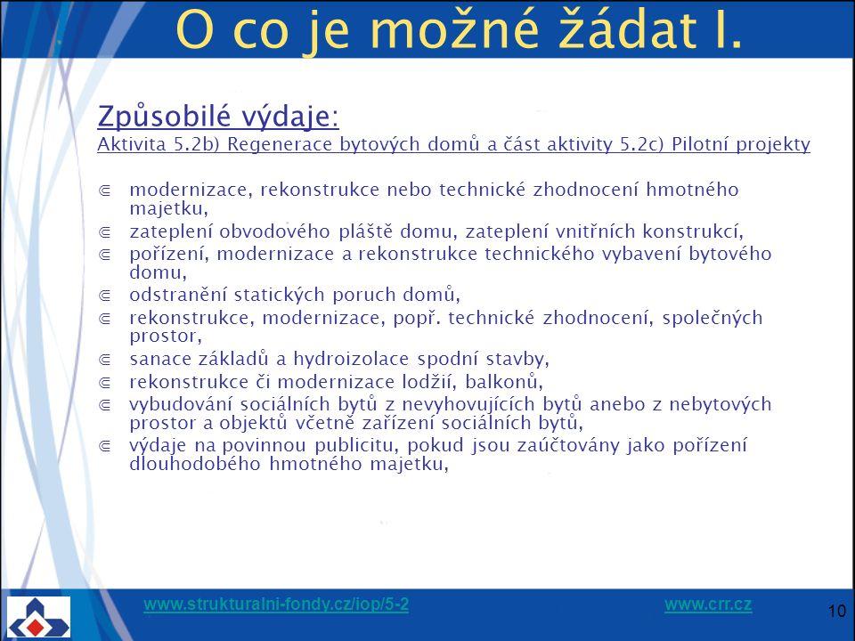 www.strukturalni-fondy.cz/iop/5-2www.strukturalni-fondy.cz/iop/5-2 www.crr.czwww.crr.cz 10 O co je možné žádat I. Způsobilé výdaje: Aktivita 5.2b) Reg