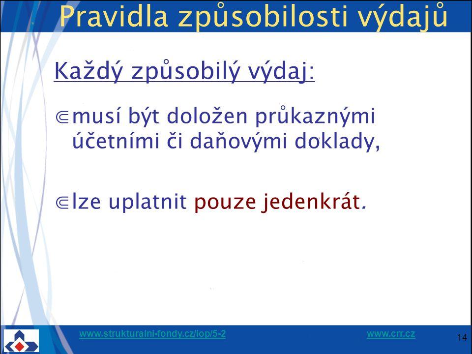 www.strukturalni-fondy.cz/iop/5-2www.strukturalni-fondy.cz/iop/5-2 www.crr.czwww.crr.cz 14 Pravidla způsobilosti výdajů Každý způsobilý výdaj: ⋐musí být doložen průkaznými účetními či daňovými doklady, ⋐lze uplatnit pouze jedenkrát.