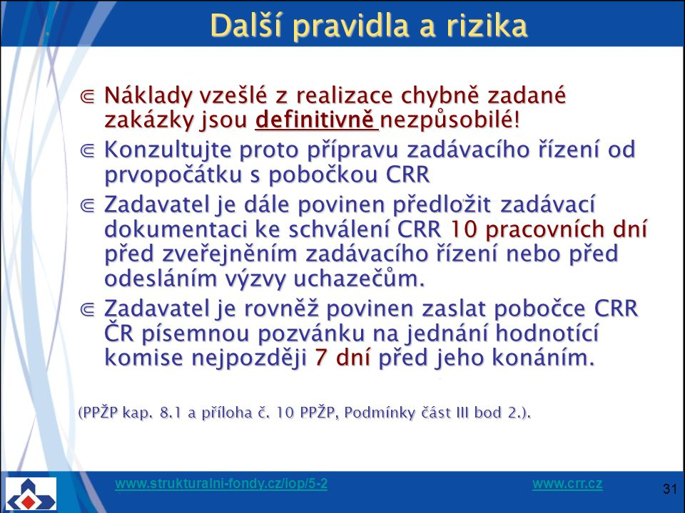 www.strukturalni-fondy.cz/iop/5-2www.strukturalni-fondy.cz/iop/5-2 www.crr.czwww.crr.cz 31 Další pravidla a rizika ⋐Náklady vzešlé z realizace chybně zadané zakázky jsou definitivně nezpůsobilé.