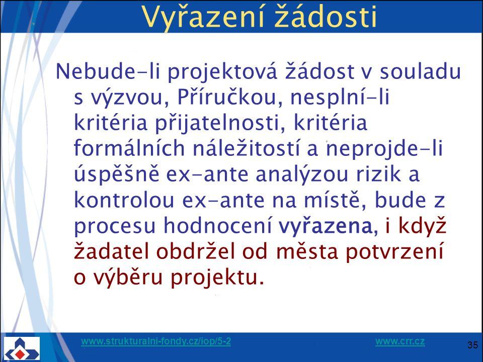 www.strukturalni-fondy.cz/iop/5-2www.strukturalni-fondy.cz/iop/5-2 www.crr.czwww.crr.cz 35 Vyřazení žádosti Nebude-li projektová žádost v souladu s výzvou, Příručkou, nesplní-li kritéria přijatelnosti, kritéria formálních náležitostí a neprojde-li úspěšně ex-ante analýzou rizik a kontrolou ex-ante na místě, bude z procesu hodnocení vyřazena, i když žadatel obdržel od města potvrzení o výběru projektu.