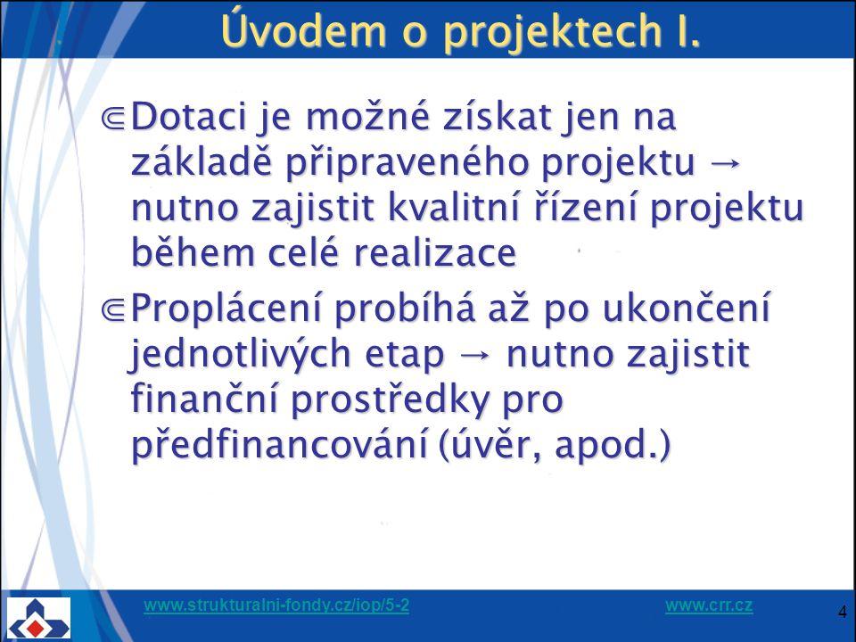 www.strukturalni-fondy.cz/iop/5-2www.strukturalni-fondy.cz/iop/5-2 www.crr.czwww.crr.cz 4 Úvodem o projektech I. ⋐Dotaci je možné získat jen na základ