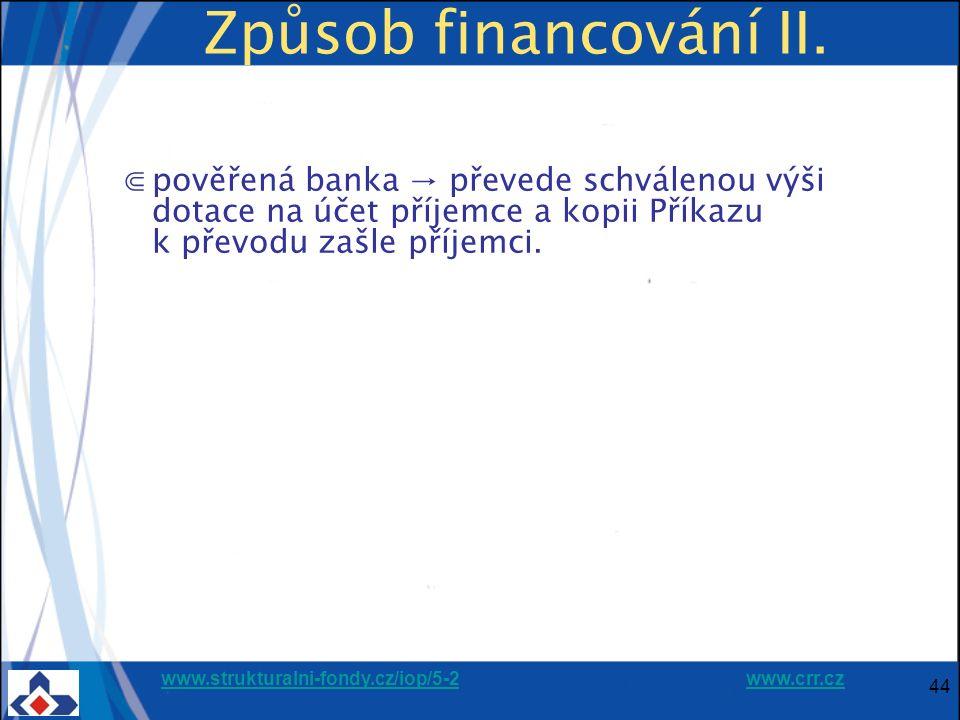 www.strukturalni-fondy.cz/iop/5-2www.strukturalni-fondy.cz/iop/5-2 www.crr.czwww.crr.cz 44 Způsob financování II. ⋐pověřená banka → převede schválenou