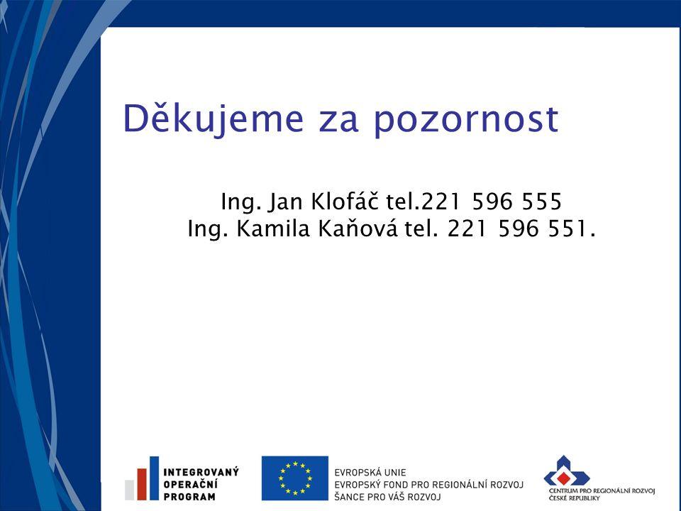 Děkujeme za pozornost Ing. Jan Klofáč tel.221 596 555 Ing. Kamila Kaňová tel. 221 596 551.