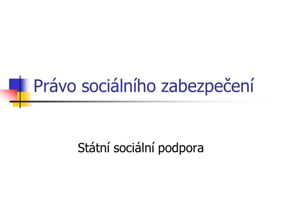 Právo sociálního zabezpečení Státní sociální podpora
