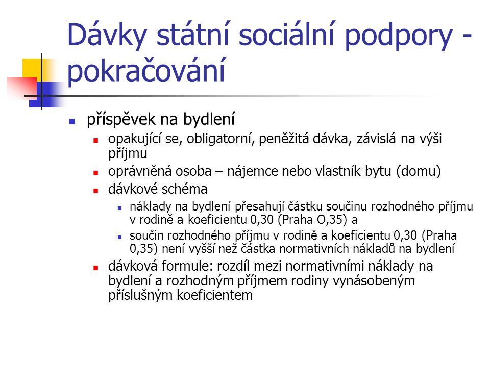 Dávky státní sociální podpory - pokračování příspěvek na bydlení opakující se, obligatorní, peněžitá dávka, závislá na výši příjmu oprávněná osoba – nájemce nebo vlastník bytu (domu) dávkové schéma náklady na bydlení přesahují částku součinu rozhodného příjmu v rodině a koeficientu 0,30 (Praha O,35) a součin rozhodného příjmu v rodině a koeficientu 0,30 (Praha 0,35) není vyšší než částka normativních nákladů na bydlení dávková formule: rozdíl mezi normativními náklady na bydlení a rozhodným příjmem rodiny vynásobeným příslušným koeficientem