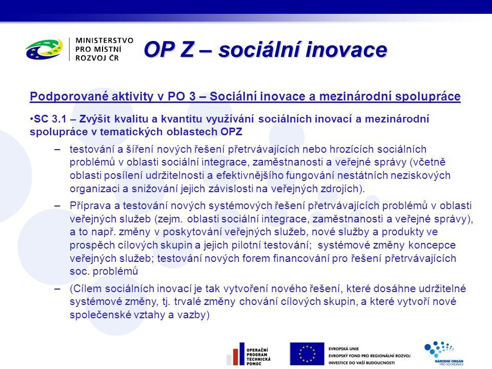 OP Z – sociální inovace Podporované aktivity v PO 3 – Sociální inovace a mezinárodní spolupráce SC 3.1 – Zvýšit kvalitu a kvantitu využívání sociálníc